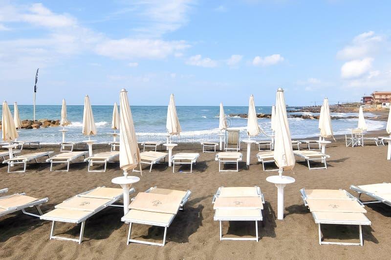 Ladispoli, Italy. Empty beaches in Italy. Beach season comes to an end. Ladispoli, Italy - Circa September 2017. Empty beaches in Italy. Beach season comes to an royalty free stock photos