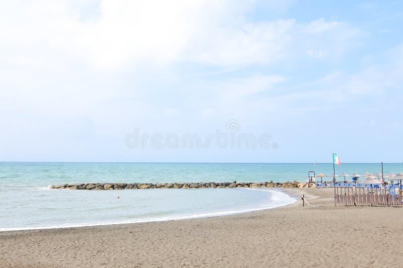 Ladispoli, Italy. Empty beaches in Italy. Beach season comes to an end. Ladispoli, Italy - Circa September 2017. Empty beaches in Italy. Beach season comes to an royalty free stock photography