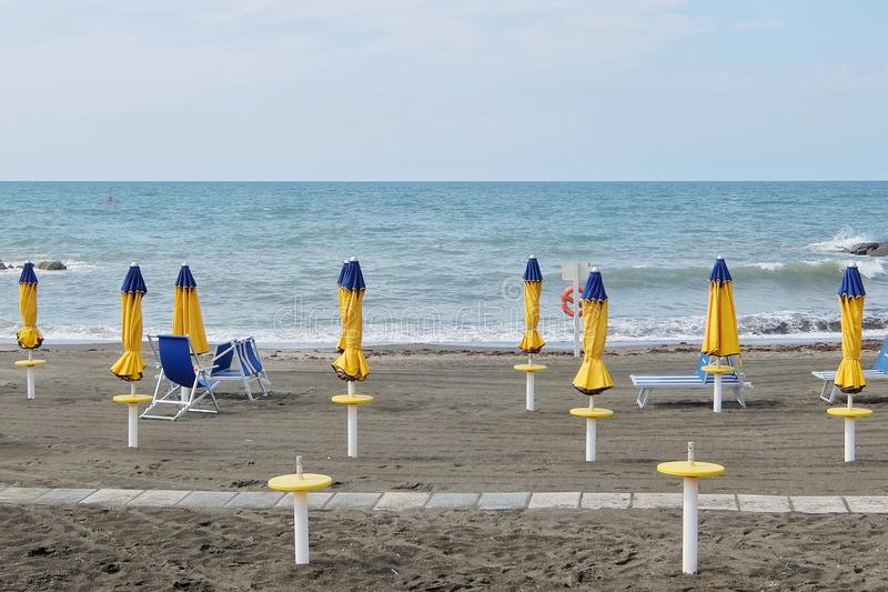 Empty beach. Ladispoli, Italy - September, 7th, 2017. Empty beaches in Italy. Beach season comes to an end royalty free stock image
