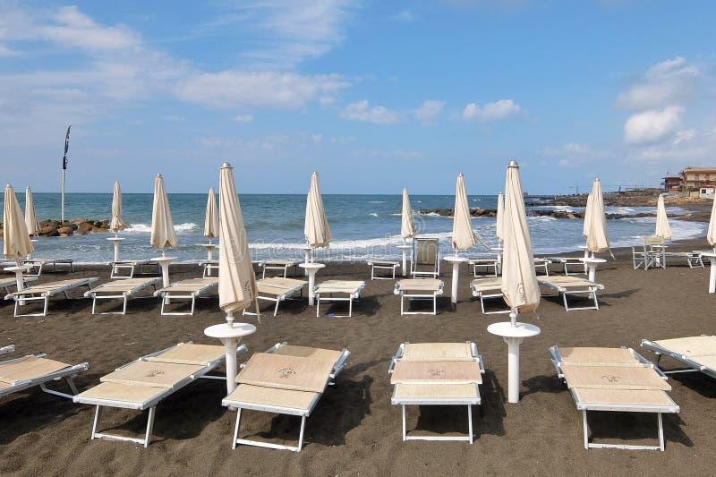 Empty beach. Ladispoli, Italy - September, 7th, 2017. Empty beaches in Italy. Beach season comes to an end royalty free stock photo