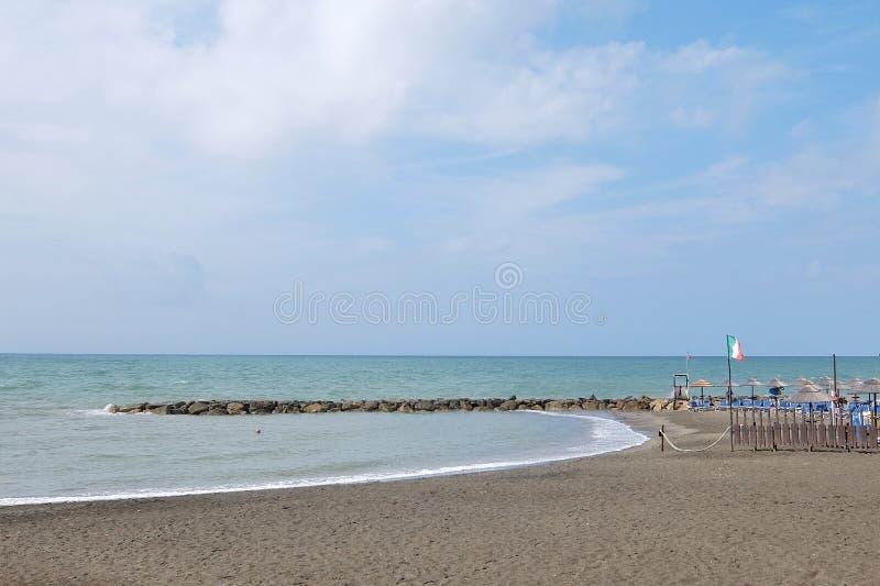 Empty beach. Ladispoli, Italy - September, 7th, 2017. Empty beaches in Italy. Beach season comes to an end stock image