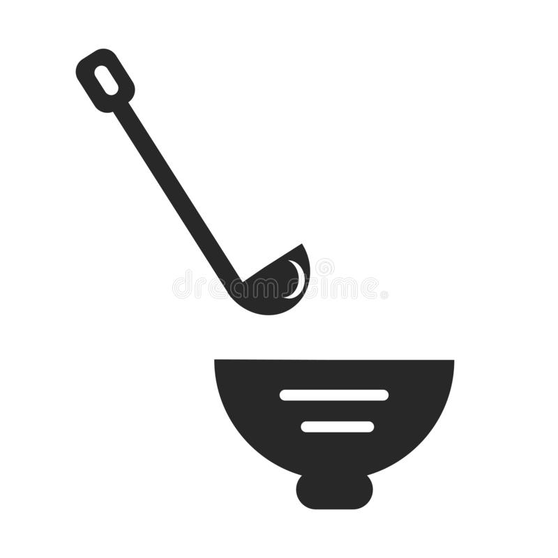 Ladle icon vector sign and symbol isolated on white background, Ladle logo concept stock illustration