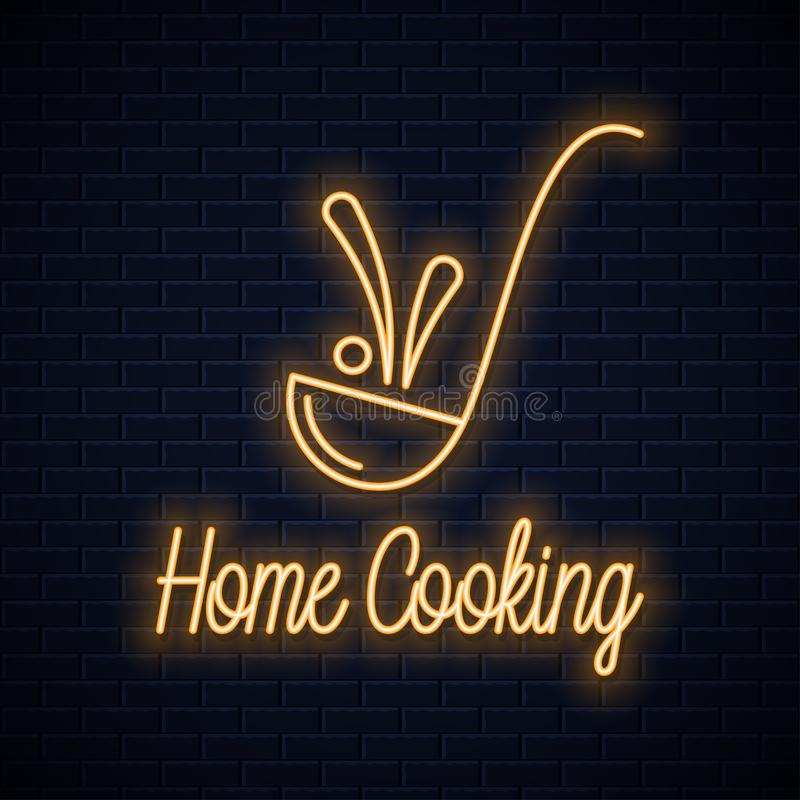 Ladle neon sign. Home cooking neon banner royalty free illustration