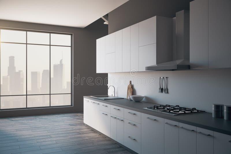 Lado contemporáneo del interior de la cocina del desván ilustración del vector