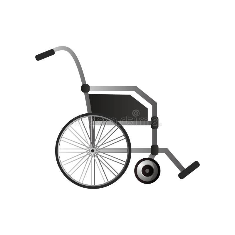 Lado da cadeira de rodas do impulso com punho de borracha e metal de a ilustração royalty free