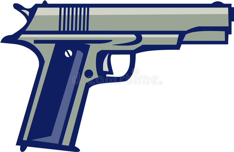Lado da pistola 1911 semiautomática retro ilustração do vetor