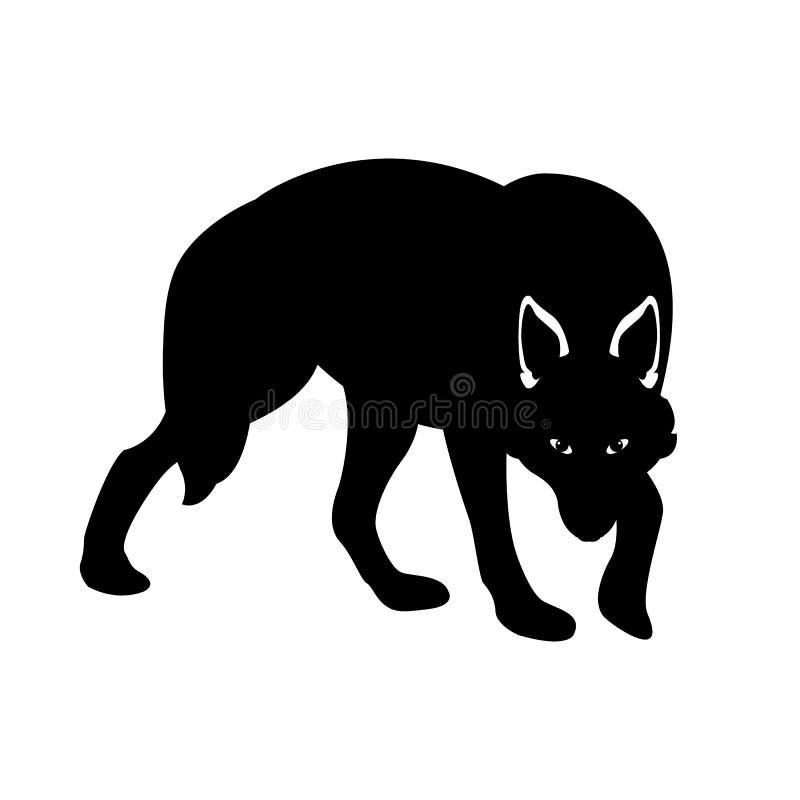 Lado da silhueta do preto da ilustração do vetor do lobo ilustração stock