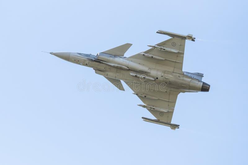 Lado de baixo de Saab JAS 39C Gripen fotografia de stock royalty free