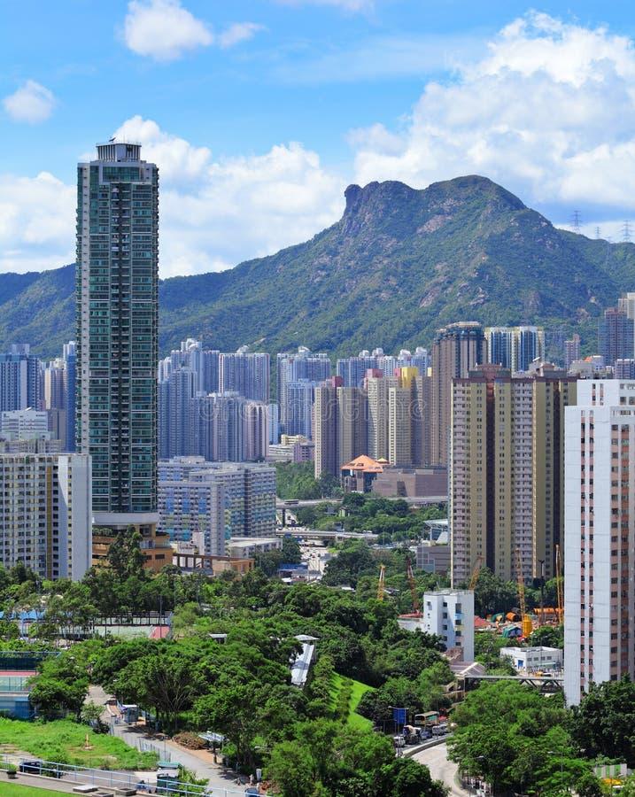 Lado de Kowloon con la roca del león de montaña en Hong Kong imagen de archivo libre de regalías