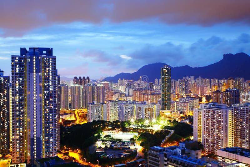 Lado de Kowloon en Hong Kong en la noche fotos de archivo libres de regalías