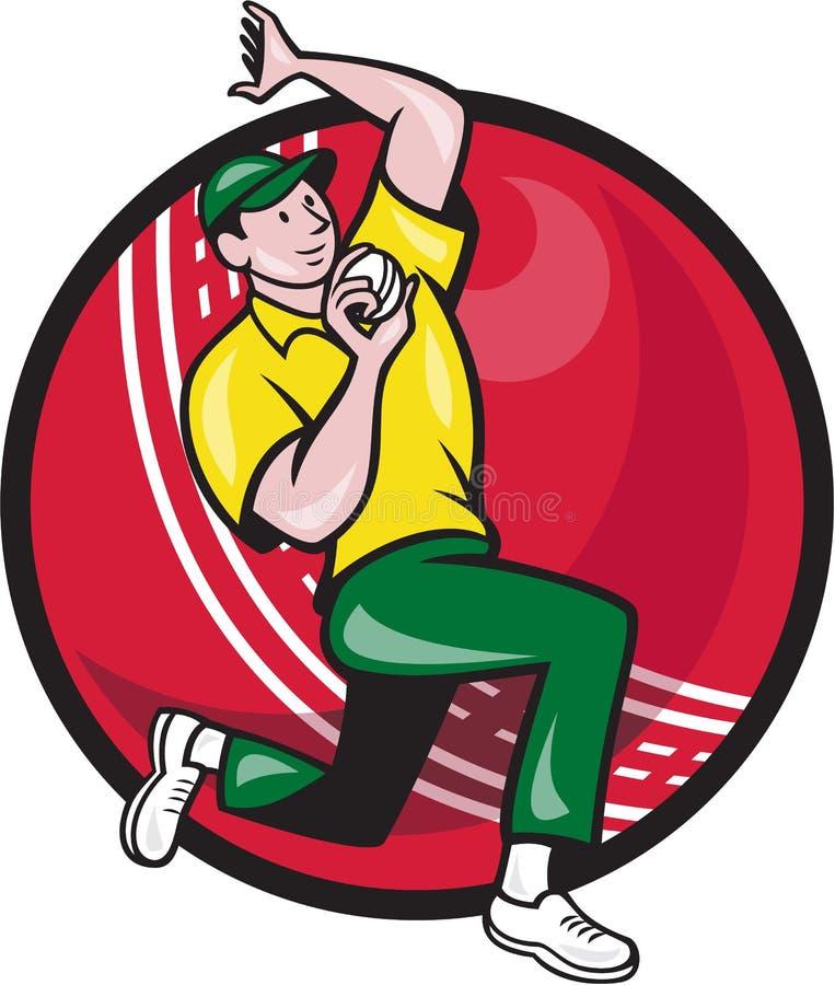 Lado de la bola de bolos del fast bowler del grillo stock de ilustración