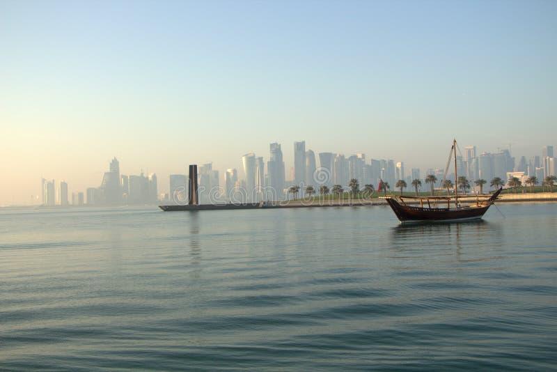 Lado de mar de Doha Corniche imagens de stock royalty free