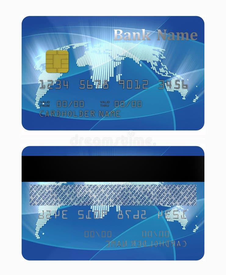 Lado dianteiro e traseiro de cartão de crédito ilustração stock