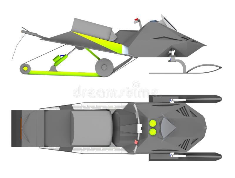 Lado do carro de neve e rendição da vista superior 3d ilustração stock