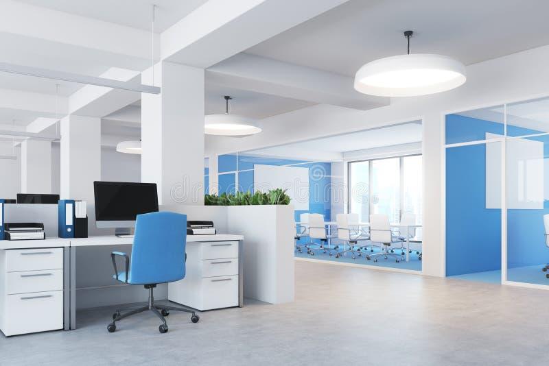 Lado do interior do escritório do espaço aberto do azul ilustração royalty free