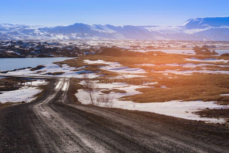 Lado do país da estação do inverno de Islândia imagens de stock