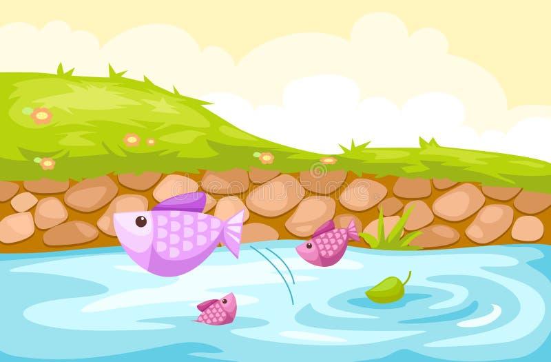 Lado do rio ilustração stock