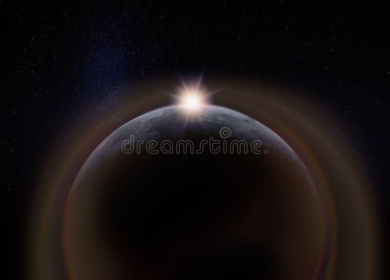 Lado escondido escuro da lua, com o Sun imagens de stock