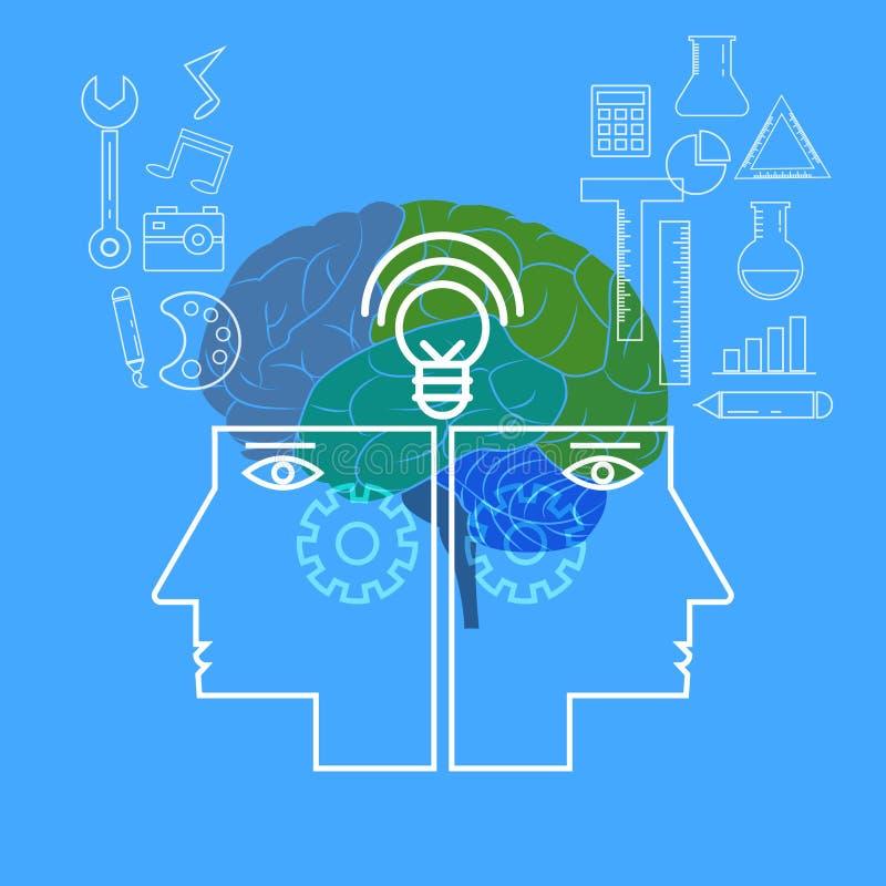 Lado izquierdo y derecho Concepto creativo del cerebro humano stock de ilustración