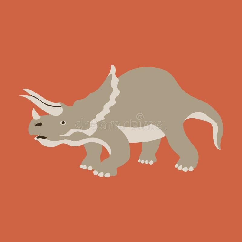 Lado plano del perfil del estilo del ejemplo del vector del dinosaurio libre illustration