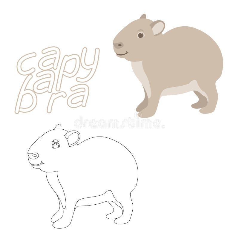 Lado plano del perfil del estilo del ejemplo del vector del libro de colorear del Capybara stock de ilustración
