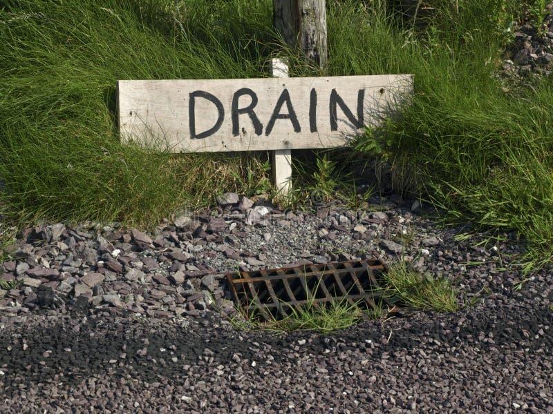 Lado rural do sinal do dreno do desperdício da água da foto da estrada fotografia de stock royalty free