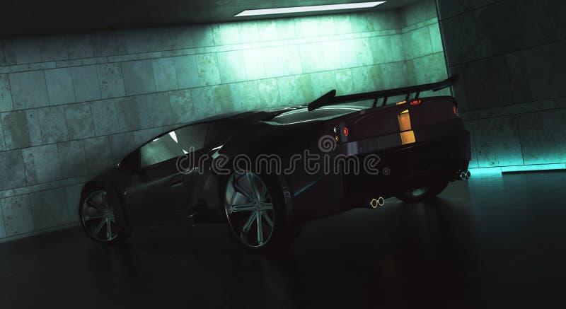 Lado sportscar negro elegante stock de ilustración
