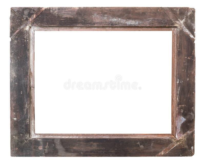 Lado trasero del bastidor de madera en blanco envejecido de la foto aislado en el fondo blanco imagen de archivo