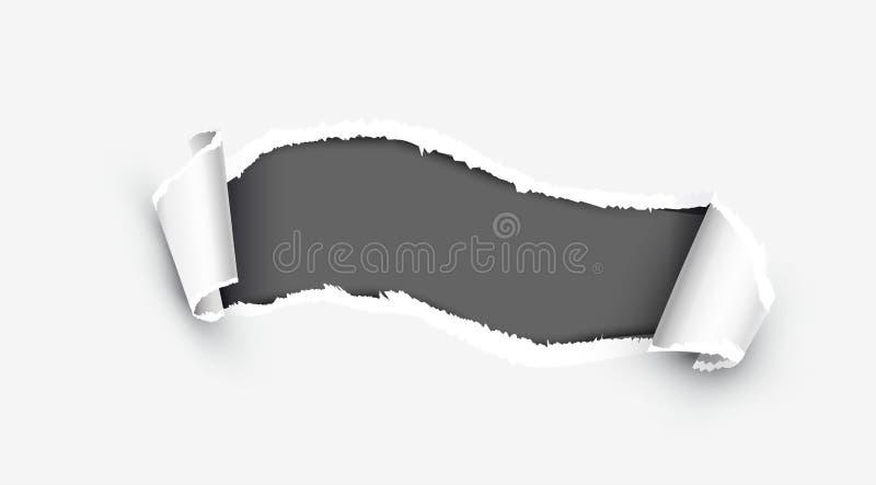 Lado withdamaged papel rasgado blanco realista ilustración del vector
