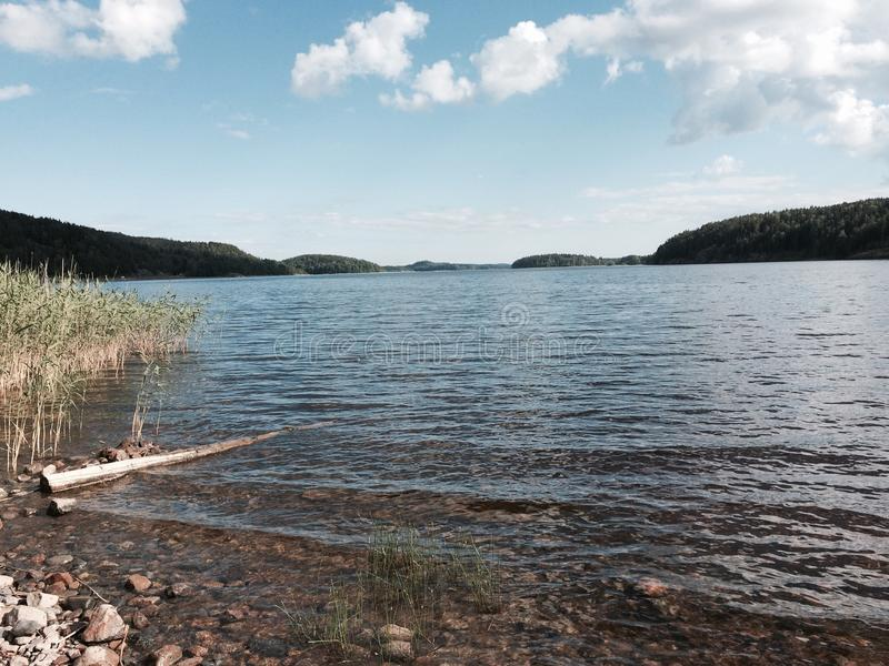 Ladoga湖在夏天 库存照片