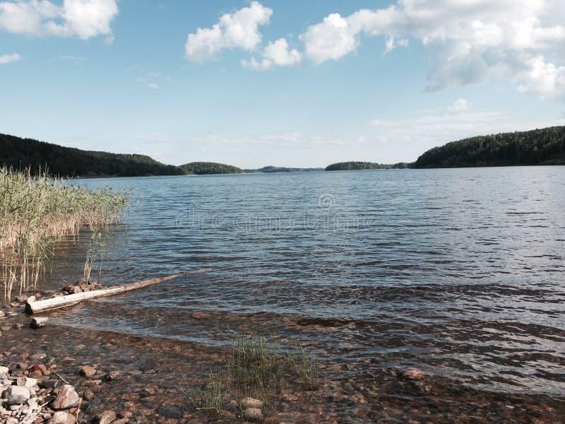 Ladoga sjö på sommar arkivfoton