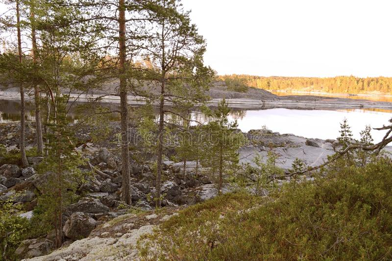 The Ladoga skerries, Karelia. The landscape is located on the Ladoga skerries national Park in Karelia. The Park is a national landmark due to the picturesque stock images