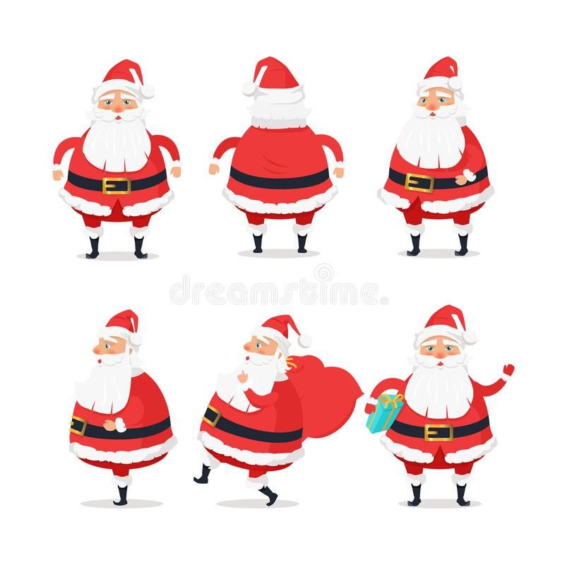 Lados diferentes de Santa Claus no fundo branco ilustração do vetor