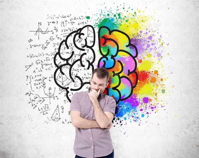 Lados diferentes do cérebro na parede ilustração stock