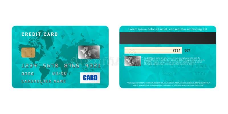 Lados do cartão de crédito dois de turquesa no estilo realístico ilustração do vetor
