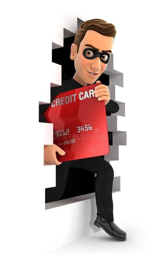 ladrão 3d que sai através de uma parede com cartão de crédito ilustração royalty free