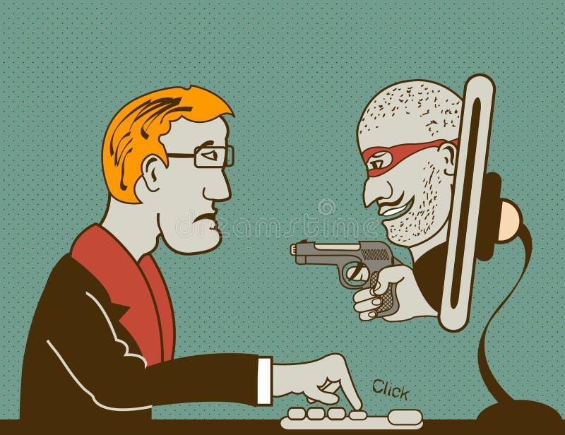 Ladrão do computador ilustração do vetor