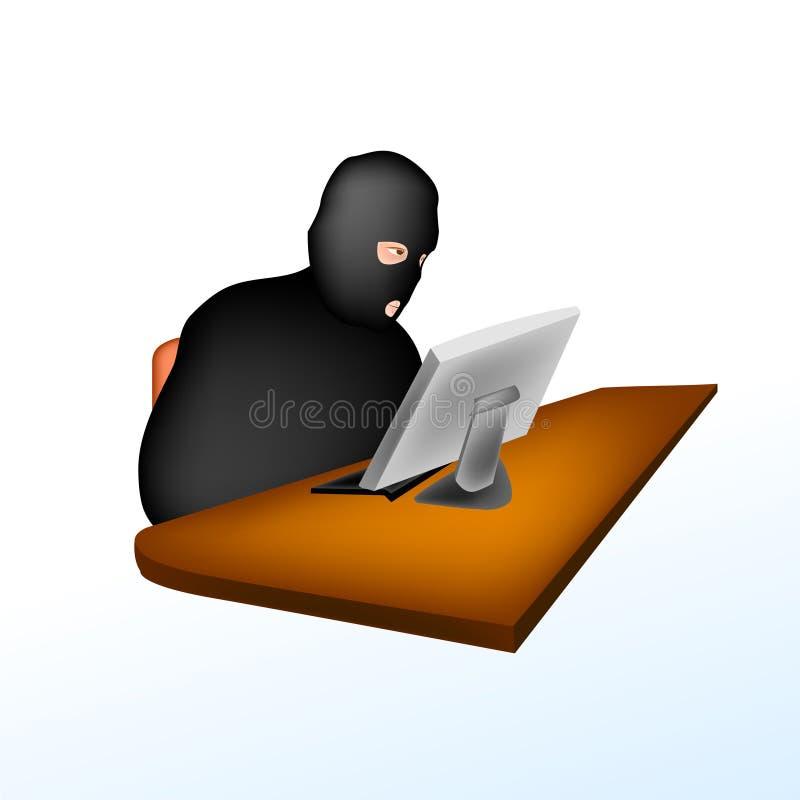 Ladrão do Web que rouba dados ilustração royalty free