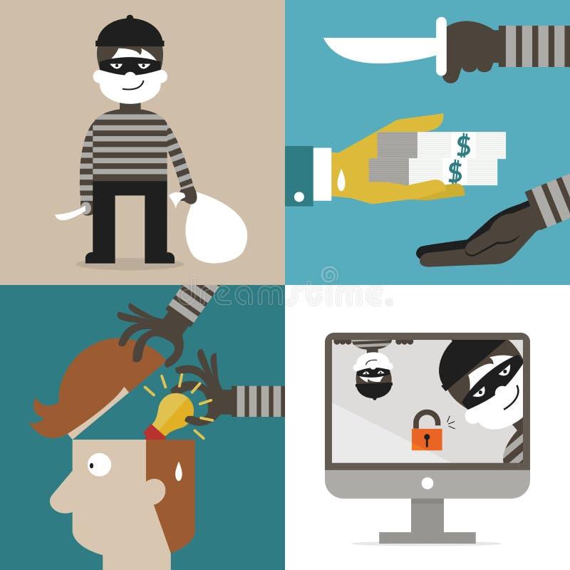 Ladrão e hacker ilustração royalty free