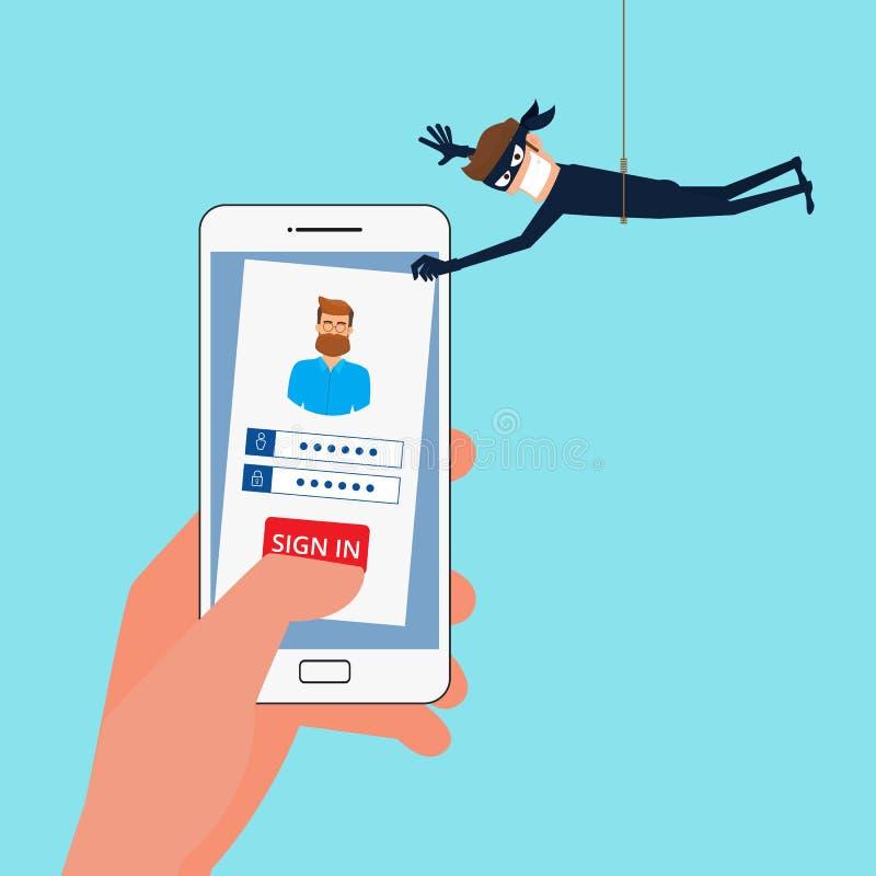Ladrão Hacker que rouba os dados sensíveis, informações pessoais como senhas de um smartphone útil para anti phishing ilustração do vetor