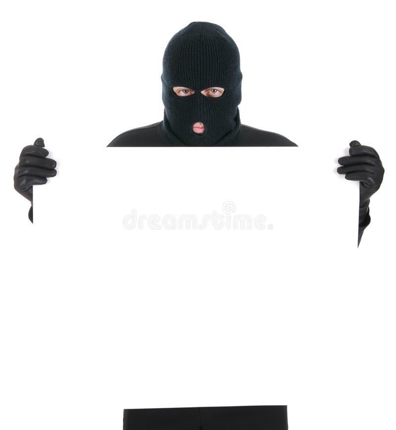 Ladrão mascarado - sua mensagem aqui imagens de stock royalty free