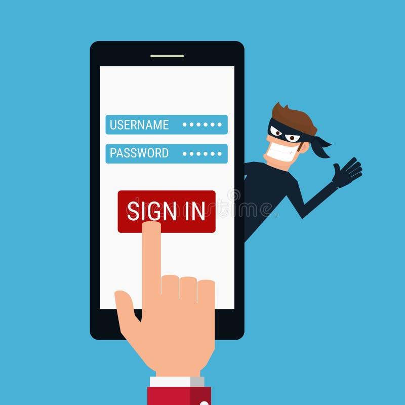 ladrão O hacker que rouba dados sensíveis como senhas de um smartphone útil para anti vírus phishing e de Internet faz campanha ilustração royalty free