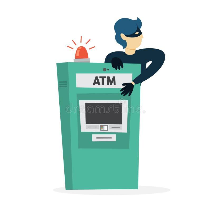 Ladrão ou assaltante que roubam o dinheiro do ATM ilustração royalty free
