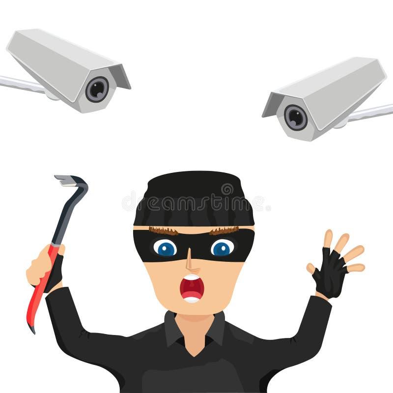 Ladrão prendido câmera do CCTV ilustração royalty free
