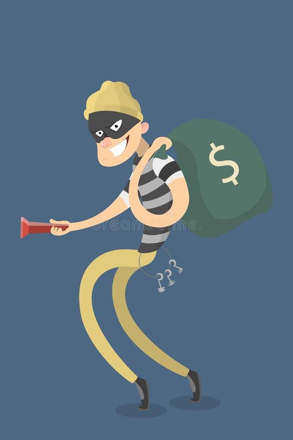 Ladrão que rouba o dinheiro ilustração do vetor