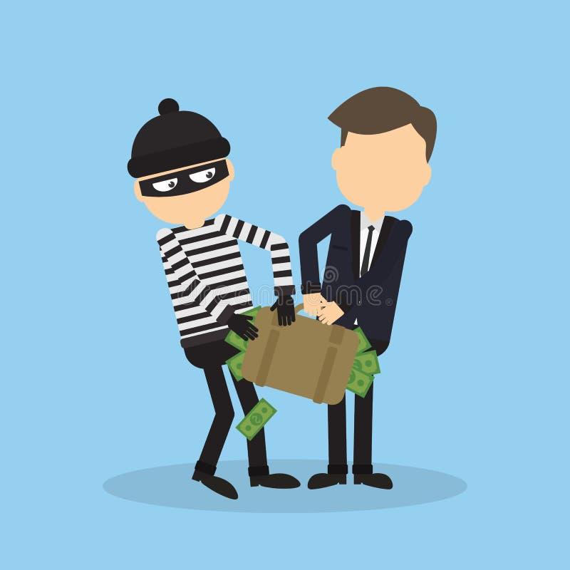 Ladrão que rouba o dinheiro ilustração stock