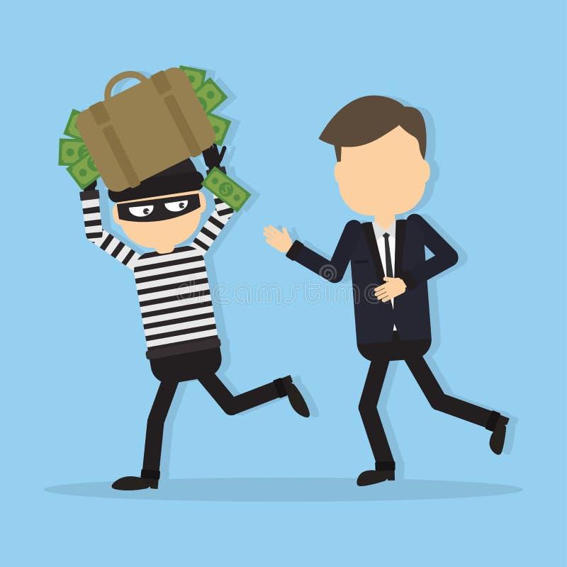 Ladrão que rouba o dinheiro ilustração royalty free
