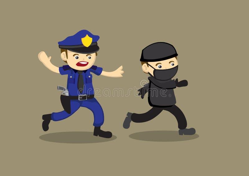 Ladrão Vetora Cartoon Illustration da perseguição do polícia ilustração royalty free