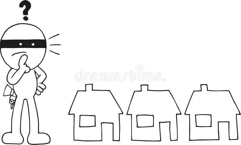 Ladrón Choosing House stock de ilustración