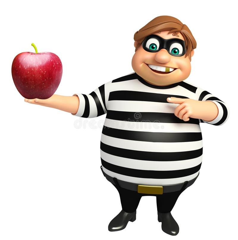Ladrón con Apple ilustración del vector